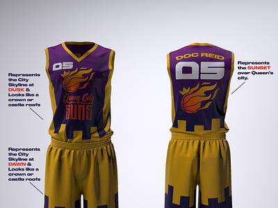 Queen City SUNS Jersey Design basketball jerseys graphic design brand identity product design