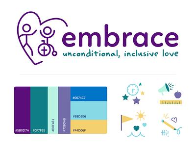 New Embrace Brand Identity for kids nonprofit icons branding logo