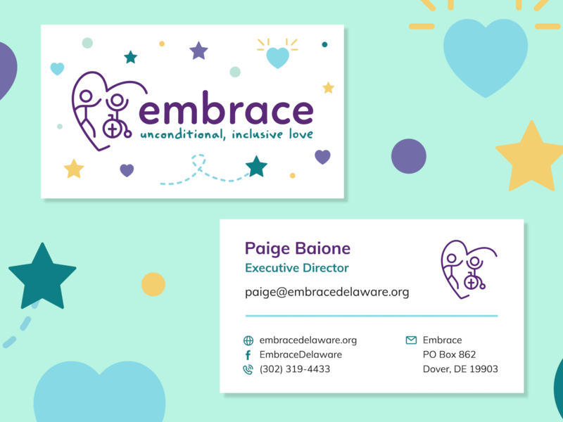 Embrace Business Cards business cards print marketing collateral marketing for kids nonprofit business card