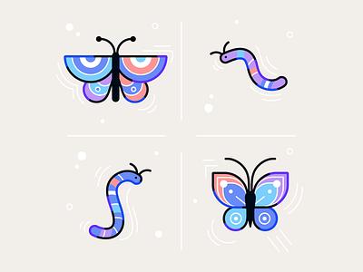 It's Butterfly Season line illustration caterpillar butterfly