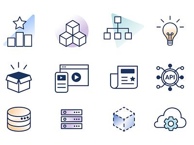 StepZen Icons branding svg marketing lineart lines server tech api icons startup