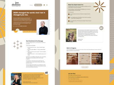 Jen Dionisio Coaching marketing site landing page coaching brown shapes marketing design webdesign site design logo design branding logo