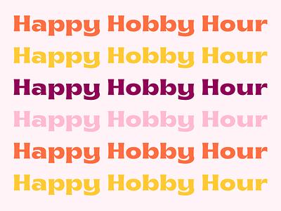 Happy Hobby Hour Logo marketing brand identity maroon yellow hobbies happy sun logo