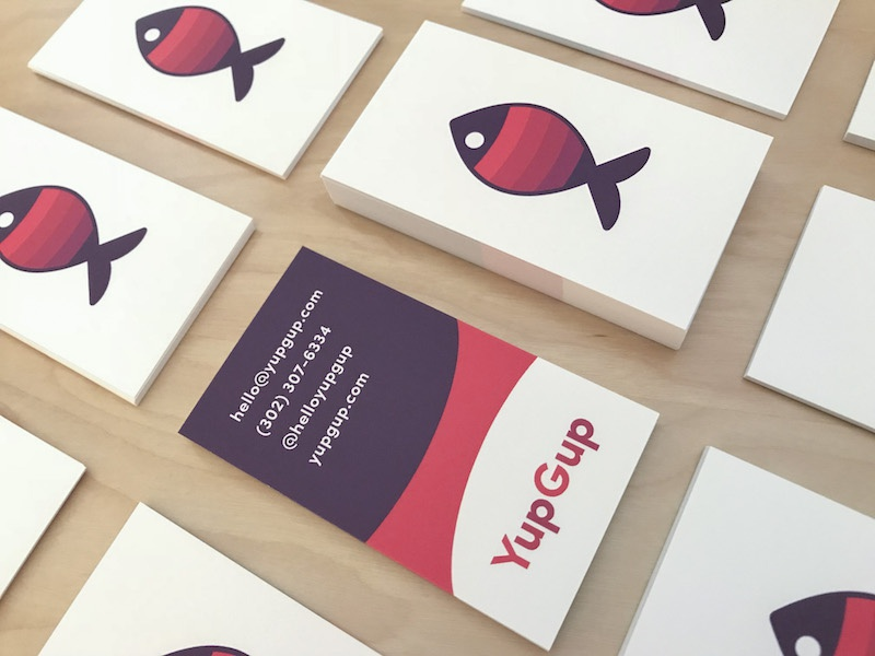 YupGup B Cards print marketing fish logo fish business cards