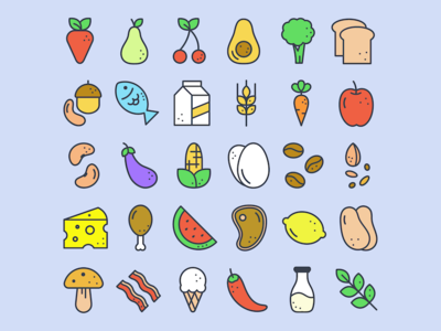 Food & Dots Icon Set avocado fish ice cream cheese bread meat vegetables fruit ingredients icon set food icons