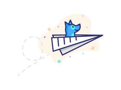 UpDog Illustration product files document flying paper airplane dog branding