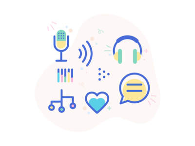 Happy Podcast Icons audio sound talking tech headphones microphone icons podcast