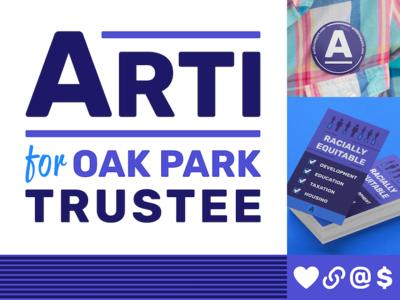 Arti for Oak Park Trustee politics business cards buttons icons political logo logo campaign