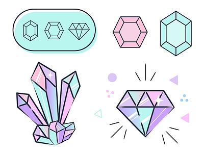 Gem Sparkle cute pastels gemstones icons sparkle diamonds gems gem