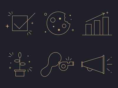 Leadership Icons sparkle checkmark gold stroked stroke icons stroke illustration whistle cookie megaphone graph plant line art icons