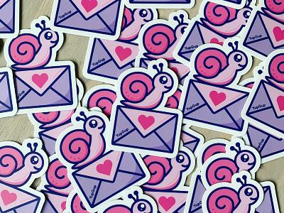 Snail Mail stickermule custom stickers marketing campaign postcard cute die cut swag marketing mail snail mail snail stickers