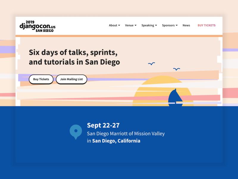 DjangoCon US 2019 Site logo california beach django conference sunset sunrise ocean header hero web design website