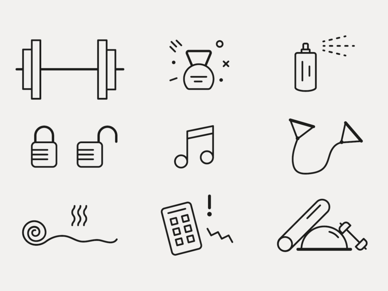 Gym Jerk Icons workout weights line icons lines icon gym