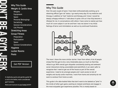 Don't Be a Gym Jerk website weights gym ebook webdesign
