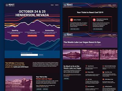 React Conf 2019 Site conference lake mountains ui web design website react conf react