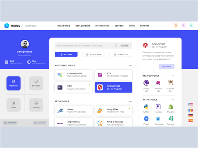 Buddy Playoff - Automation Actions Template UI Design dashboard ui dashboad app logo typography colorful branding ux illustration html css web design web ux design ui modern design creative playoff buddy