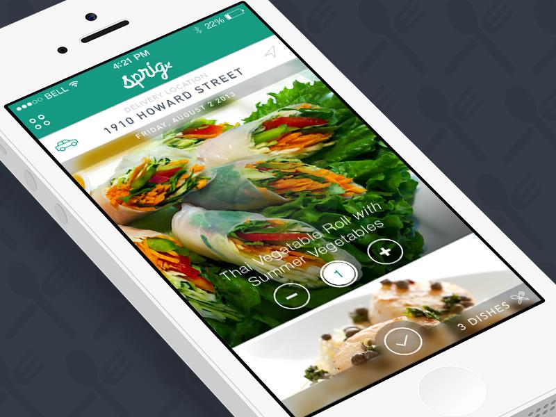 Sprig: Dinner on Demand on-demand food mobile app flat