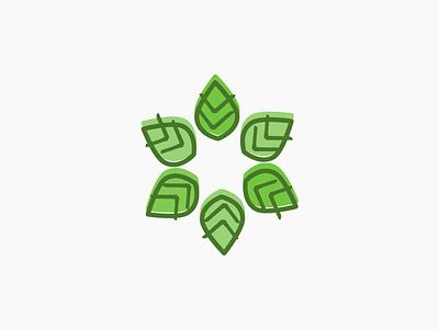 Leaf pow-wow logo branding icon identity