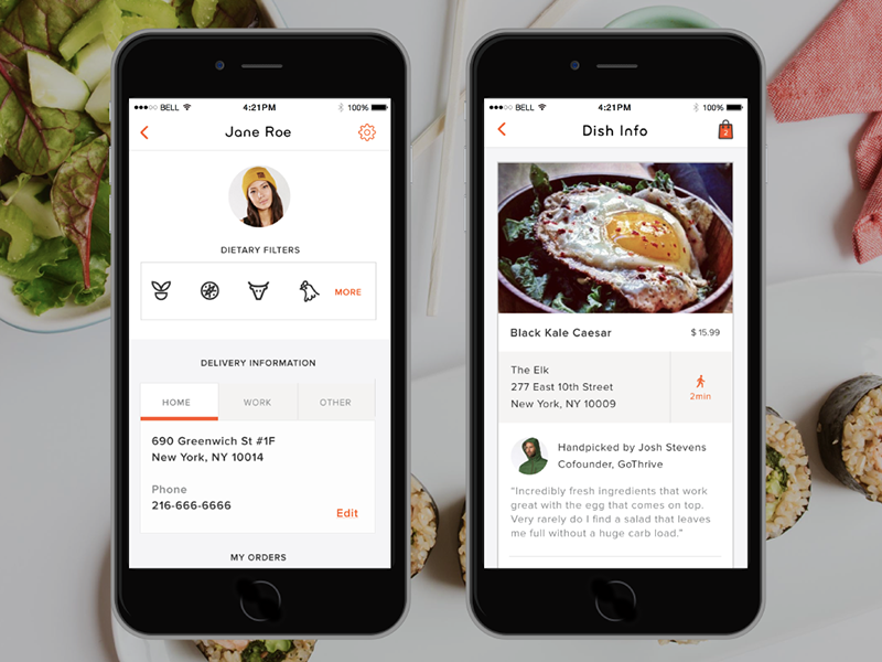Curated Nutrition App food delivery ios app