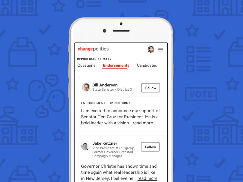 Change Politics endorsement screen social mobile politics