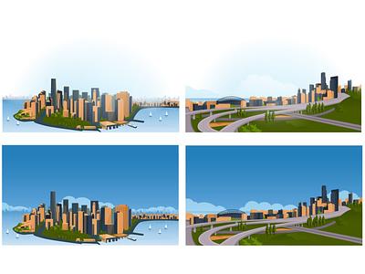 landscape, illustration for the site site ux banner flat design vector illustration web landscape