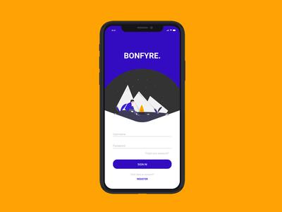 Bonfyre Login UI Concept