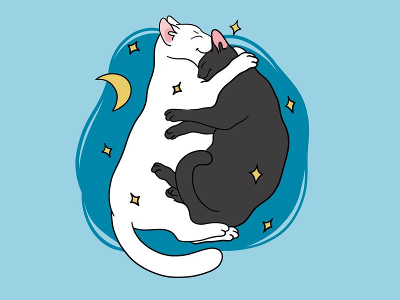 Cat's sticker for Telegram 2d art flat 2d illustration cartoon sticker design cute free procreate illustrator illustraion cats cat telegram stickers sticker