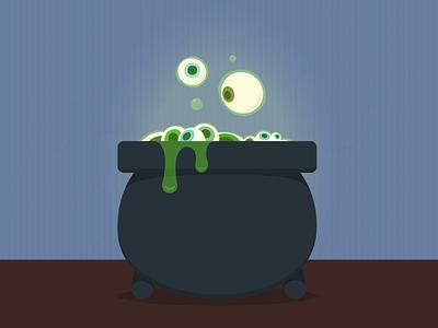 Eye Cauldron by Smokie Lee blue black grey cook slime eyeball green cauldron spooky eyes
