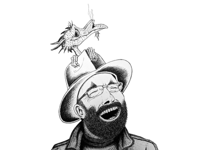Terry Pratchett with Errol black and white pen white black ink terry pratchett discworld