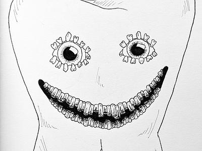 Inktober: teeth monster nightmarefuel scary nightmare inktober inktober2020 ink white black teeth