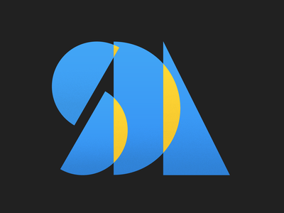 Weekly Warmup 005: Simple Letterform dribbbleweeklywarmup yellow blue letterform l d s