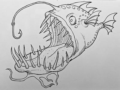 Inktober 2019 no. 3: bait(ed) ink ink drawing illustration scary fish anglerfish white black 2019 inktober