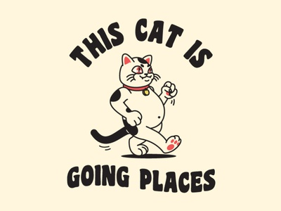 This Cat Is Going Places vector mascot fun drawing logo illustration character cat