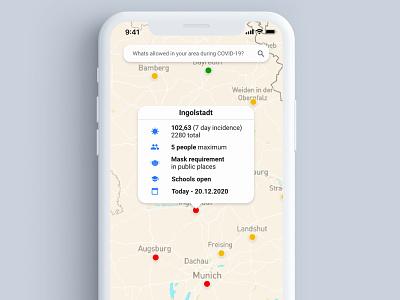 COVID19 Map - Interactive Map - #xdcreativechallenge ui app xdcreativechallenge xddailychallenge map covid19