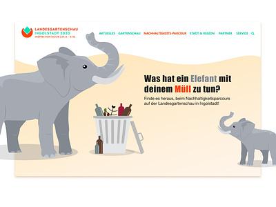 Concept Screendesign for Landesgartenschau Ingolstadt firstpost sustainability landingpage minimal website web ux ui design illustration