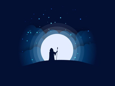 Magic Night - Vektorart, Illustration wizard starlight moon magic stars moonlight vektor vektorart illustration