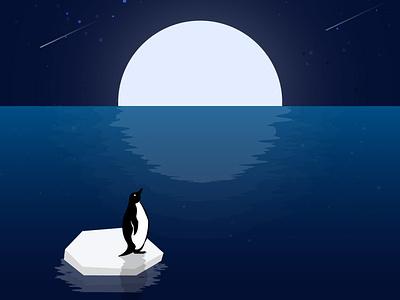 IIlustration for global climate strike - 20. September water moon illustrator environment creativity digitalart moonlight vektorart penguin climatestrike allefürsklima fridayforfuture globalwarming
