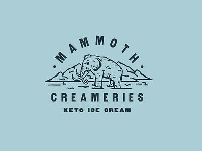 Mammoth III ice cream primal mammoth branding logo design badge animal illustration