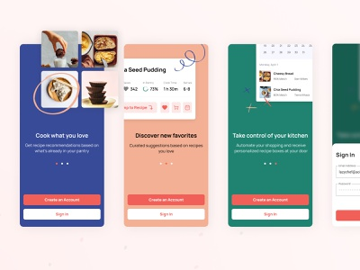 Recipe app FTUX login onboarding first time user experience food cooking recipe mobile design