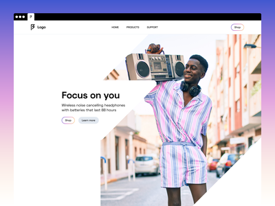 Hero Exploration headphones clean minimal landingpage website web design visual identity uiux user interface user experience ui typography technologhy product design logo music hero design branding b2c