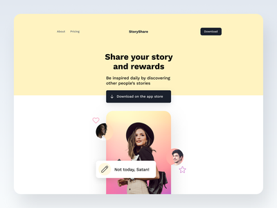 Day 11/30 Website Hero - Story Share hero section landingpage website clean minimal ui typography design