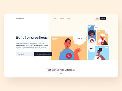 Day 14 of #30daysofwebdesign hero section hero banner hero image decentralized version control sketch valley illustration 30daychallenge web design landingpage website clean minimal ui typography design