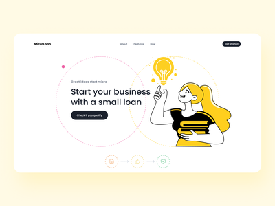 Day 16 of #30daysofwebdesign female business loan hero section web design 30daychallenge landingpage website clean minimal ui typography design