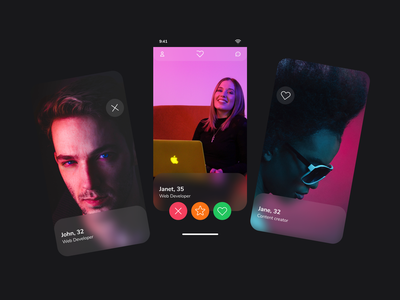 Dating app project concept for tech community dating app web figma simple concept typography clean ui minimal design