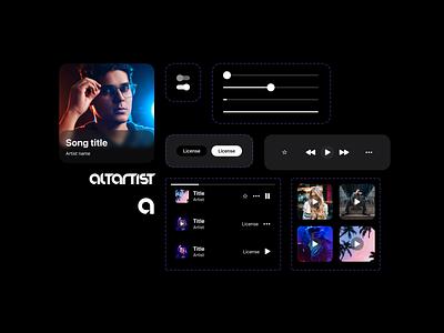 Music iOS app design system components Figma music player music app components component how to design systems design system figma concept clean ui minimal design