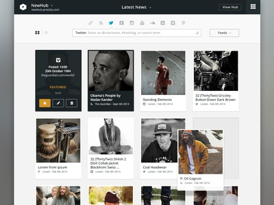Dashboard Content Page dashboard ui ux curate content shadow feeds icon feature hover hub view