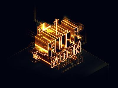 Full Moon Type highres photoshop blingbling fancy transparent lines light gold isometric type illustrator