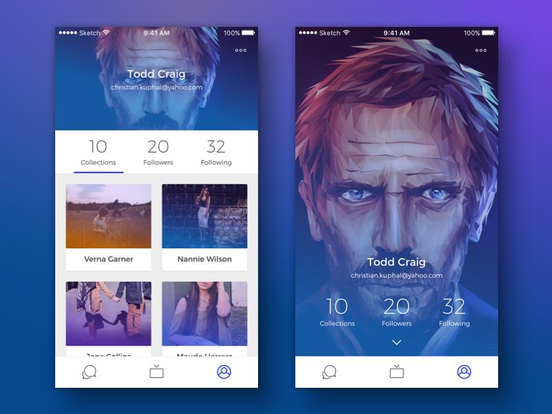 Profile page design ios app design ui profile