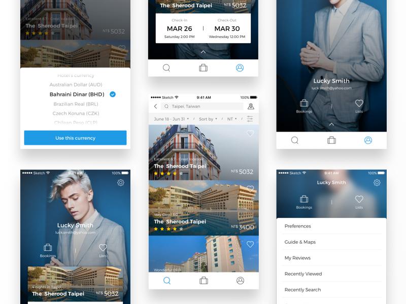Travel app - hotel list profile hotel app ui