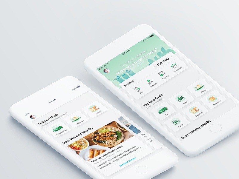 UX and interaction design for Grab app home page interaction ux superapp app grab